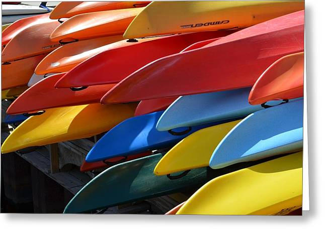 Kayak Greeting Cards - Colorful Kayaks Greeting Card by Toby McGuire