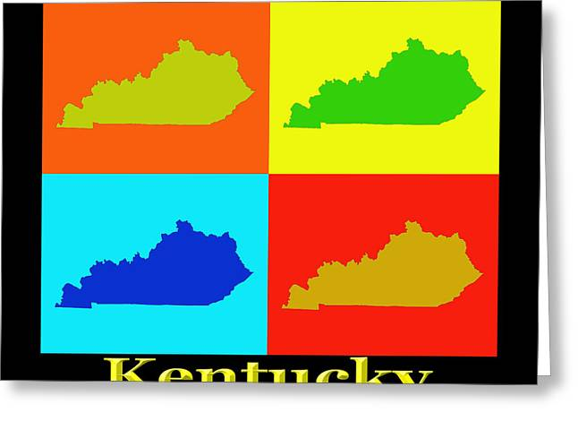 Kentucky Greeting Cards - Colorful Kentucky Pop Art Map Greeting Card by Keith Webber Jr