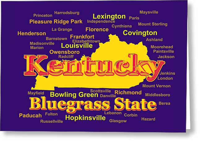 Colorful Kentucky State Pride Map Silhouette  Greeting Card by Keith Webber Jr