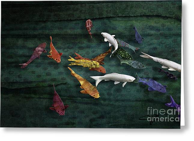 Colorful Koi Meditation Mixed Media By Modern Artist Greeting Card by Jani Bryson