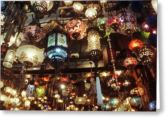 Istanbul Greeting Cards - Colorful Lamps In The Grand Bazaar Greeting Card by Panoramic Images