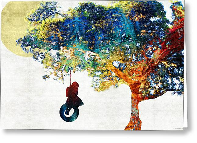 Colorful Landscape Art - The Dreaming Tree - By Sharon Cummings Greeting Card by Sharon Cummings