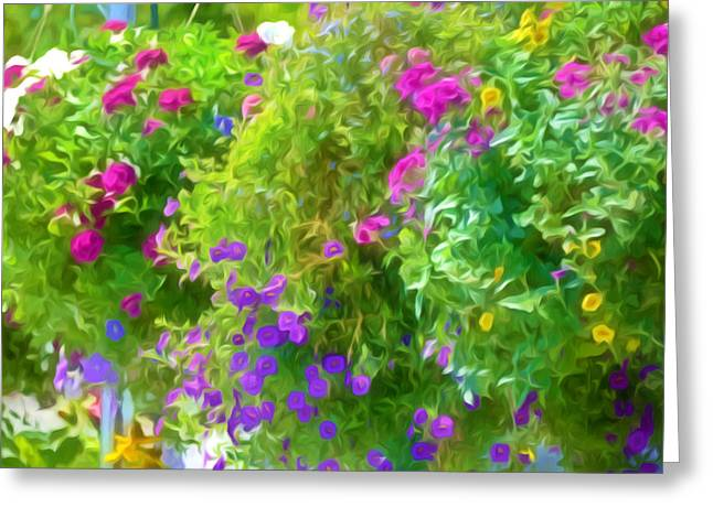 Grow Inside Greeting Cards - Colorful Large Hanging Flower Plants 3 Greeting Card by Lanjee Chee