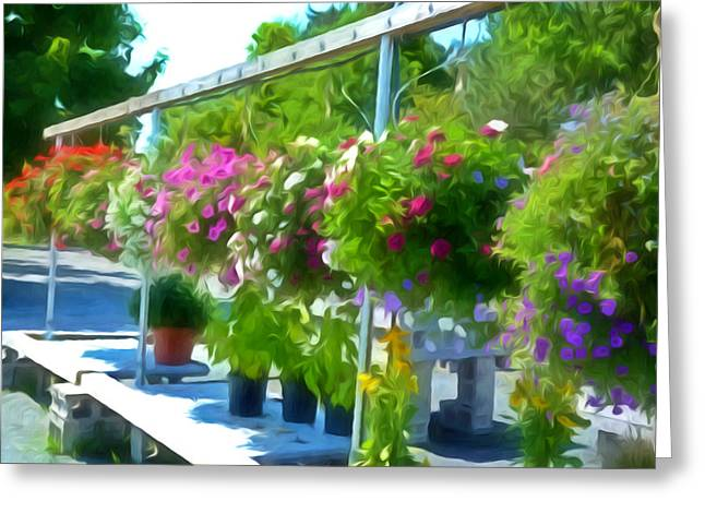 Grow Inside Greeting Cards - Colorful Large Hanging Flower Plants  4 Greeting Card by Lanjee Chee