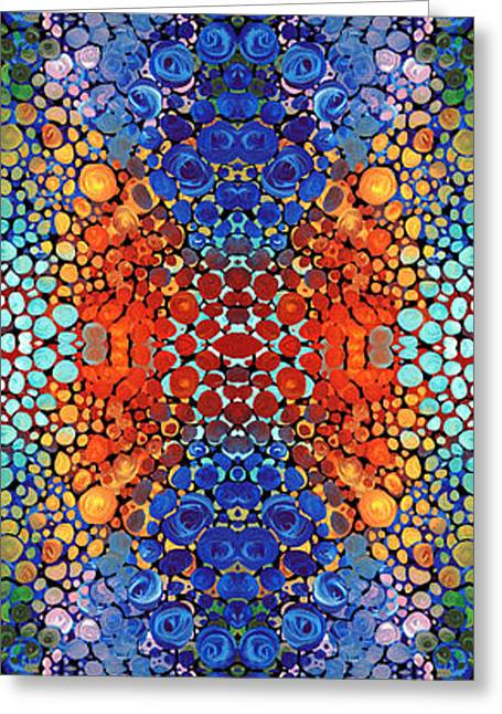 Patterned Greeting Cards - Colorful Layers Vertical - Abstract Art By Sharon Cummings Greeting Card by Sharon Cummings
