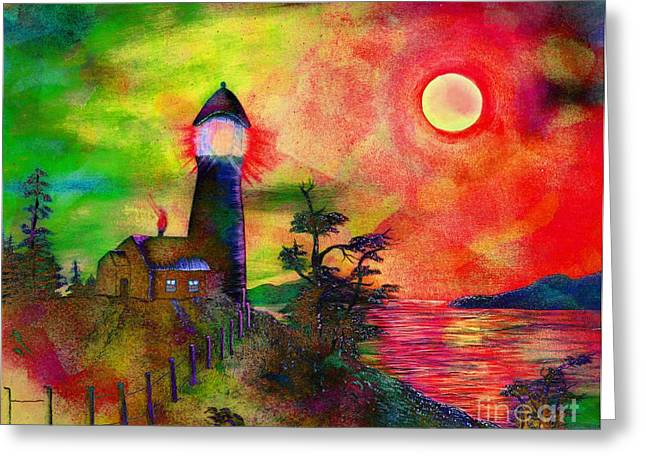 Colorful Lighthouse Scene With Textures Greeting Card by Barbara Griffin