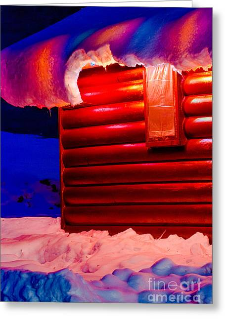 Overhanging Snow Greeting Cards - Colorful lights around cabin Greeting Card by Optical Playground By MP Ray