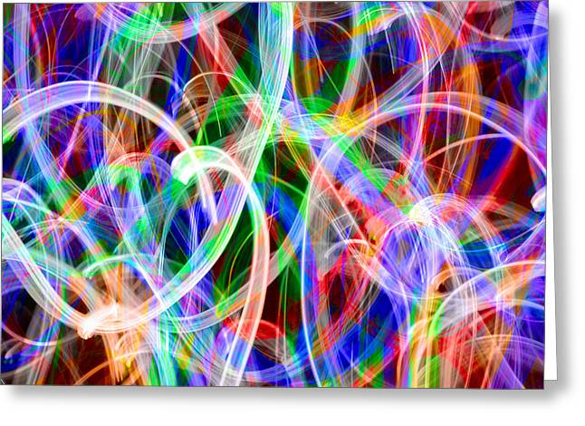 Abstract Digital Light Trails Greeting Cards - Colorful Lights in Motion Greeting Card by Don Gradner