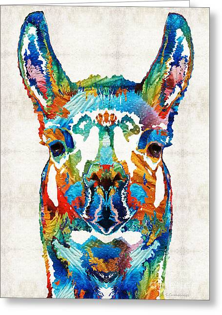 Alpacas Greeting Cards - Colorful Llama Art - The Prince - By Sharon Cummings Greeting Card by Sharon Cummings