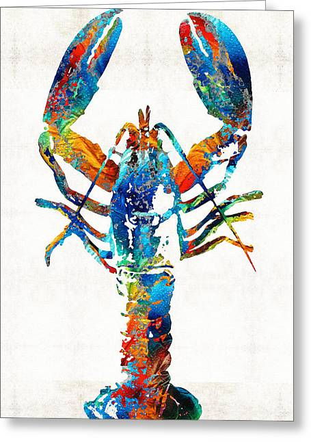 Beach House Paintings Greeting Cards - Colorful Lobster Art by Sharon Cummings Greeting Card by Sharon Cummings