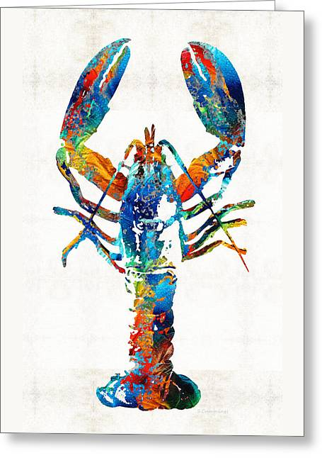 Red Claws Greeting Cards - Colorful Lobster Art by Sharon Cummings Greeting Card by Sharon Cummings