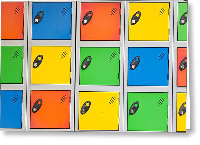 Office Space Greeting Cards - Colorful lockers Greeting Card by Tom Gowanlock