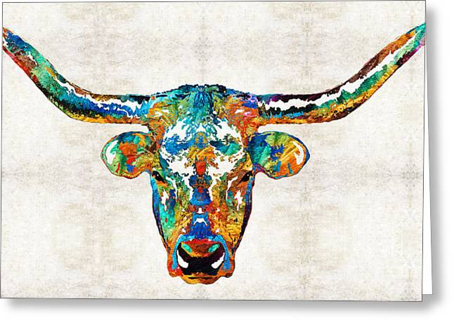 College Football Greeting Cards - Colorful Longhorn Art By Sharon Cummings Greeting Card by Sharon Cummings