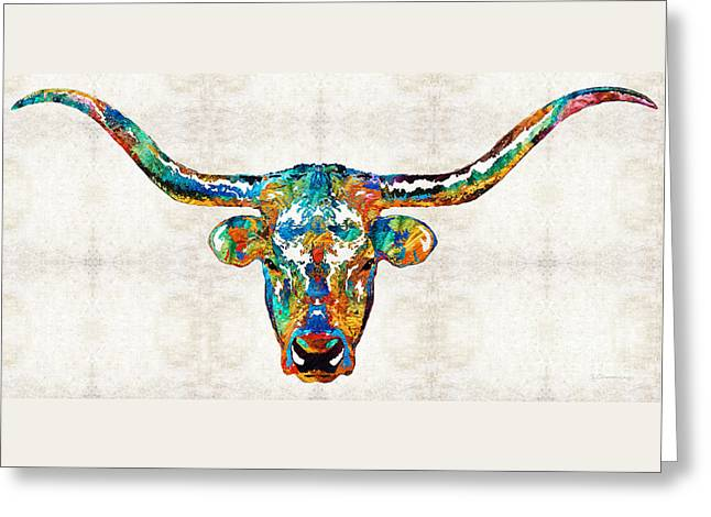 Basketball Paintings Greeting Cards - Colorful Longhorn Art By Sharon Cummings Greeting Card by Sharon Cummings