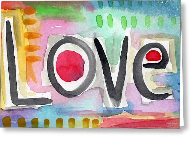 Teens Greeting Cards - Colorful Love- painting Greeting Card by Linda Woods