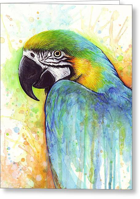 Parrot Art Print Greeting Cards - Colorful Macaw Parrot Painting Greeting Card by Olga Shvartsur