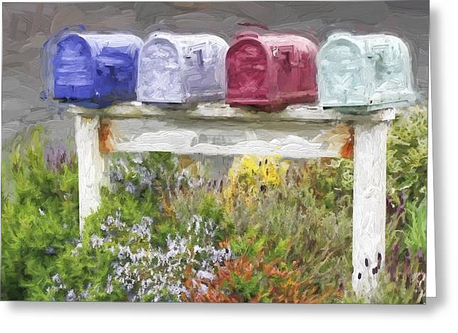 Cheery Greeting Cards - Colorful Mailboxes and Flowers Painterly Effect Greeting Card by Carol Leigh
