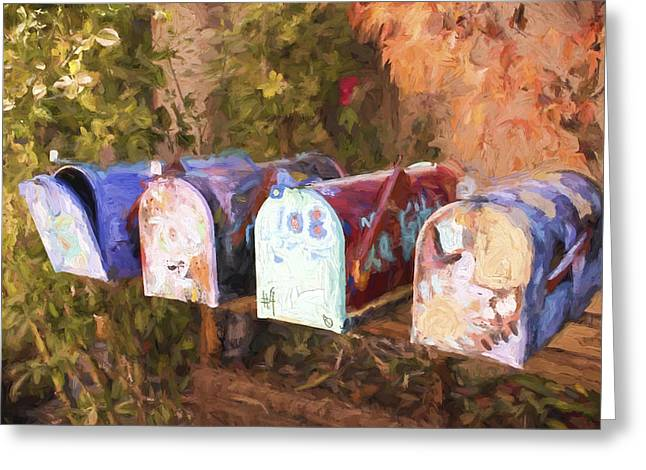 Artsy Greeting Cards - Colorful Mailboxes Santa Fe Painterly Effect Greeting Card by Carol Leigh