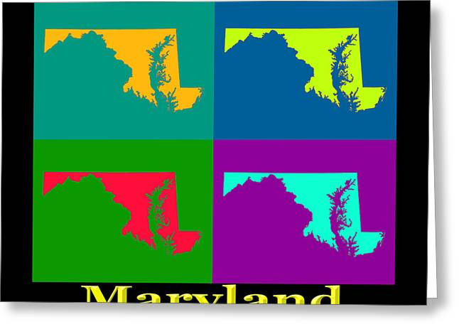 Maryland Greeting Cards - Colorful Maryland Pop Art Map Greeting Card by Keith Webber Jr