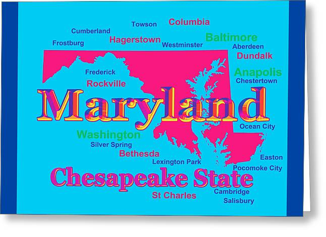 Rockville Greeting Cards - Colorful Maryland State Pride Map Silhouette  Greeting Card by Keith Webber Jr