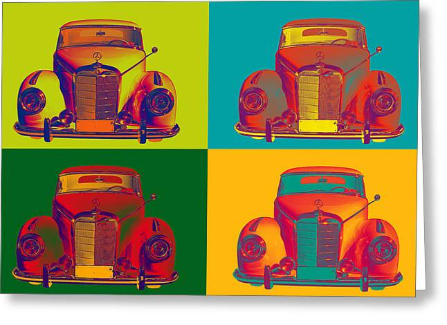 Old Auto Greeting Cards - Colorful Mercedes Benz 300 Luxury Car Pop Art Greeting Card by Keith Webber Jr