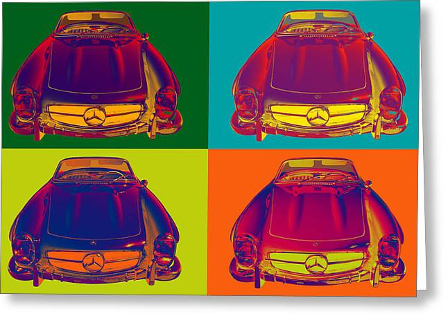 Old Auto Greeting Cards - Colorful Mercedes Benz 300 SL Convertible Popart Greeting Card by Keith Webber Jr