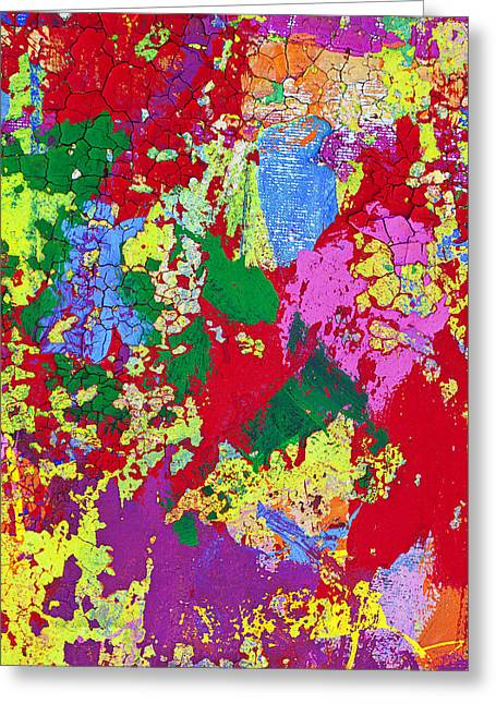 Splatter Paint Greeting Cards - Colorful messy painted wall Greeting Card by Garry Gay