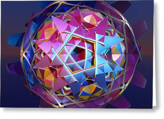 Fractal Orbs Greeting Cards - Colorful metallic orb Greeting Card by Gaspar Avila