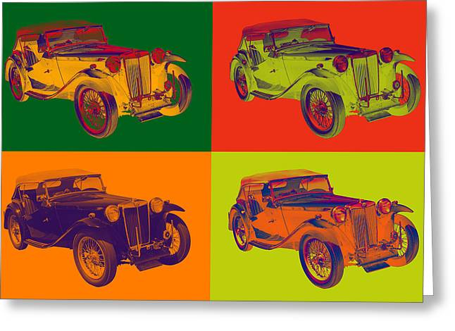 Classic Automobile Art Greeting Cards - Colorful Mg Tc Antique Car Popart Greeting Card by Keith Webber Jr