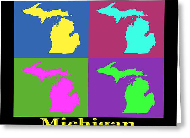Michigan State Greeting Cards - Colorful Michigan State Pop Art Map Greeting Card by Keith Webber Jr