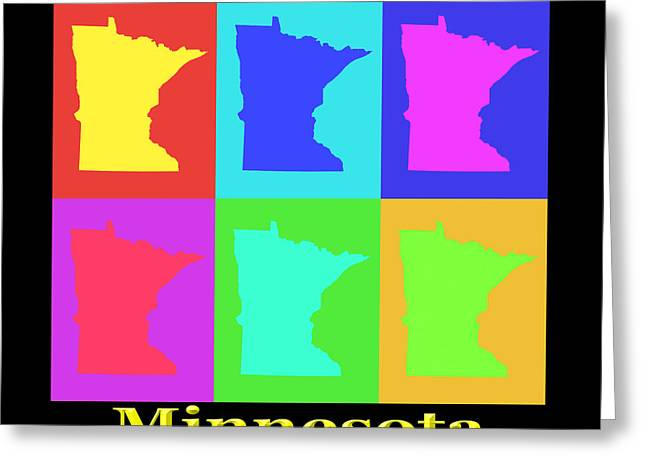 Minnesota Art Greeting Cards - Colorful Minnesota State Pop Art Map Greeting Card by Keith Webber Jr