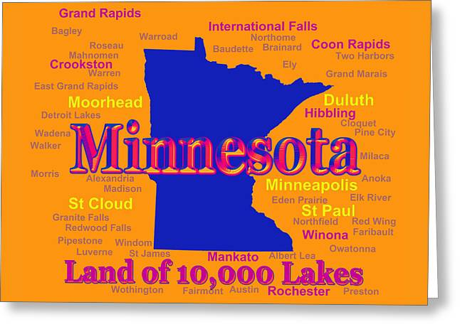 Rochester Greeting Cards - Colorful Minnesota State Pride Map Silhouette  Greeting Card by Keith Webber Jr