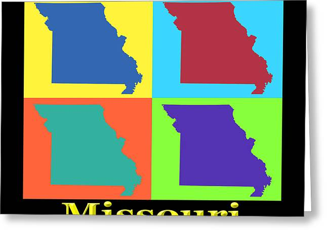 Missouri Greeting Cards - Colorful Missouri State Pop Art Map Greeting Card by Keith Webber Jr