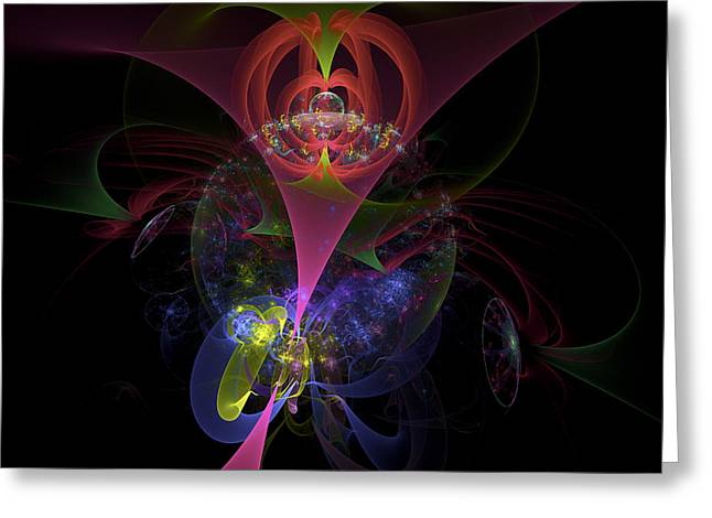 Computer Generated Abstract Greeting Cards - Colorful Modern Fractal Art Image On Black Background Greeting Card by Keith Webber Jr
