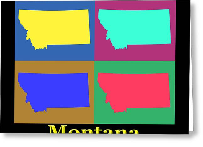 Montana State Map Greeting Cards - Colorful Montana State Pop Art Map Greeting Card by Keith Webber Jr