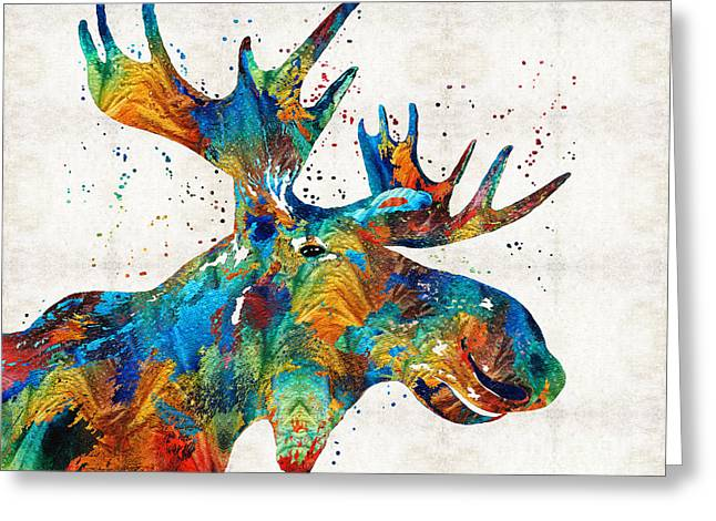 Mystic Art Greeting Cards - Colorful Moose Art - Confetti - By Sharon Cummings Greeting Card by Sharon Cummings