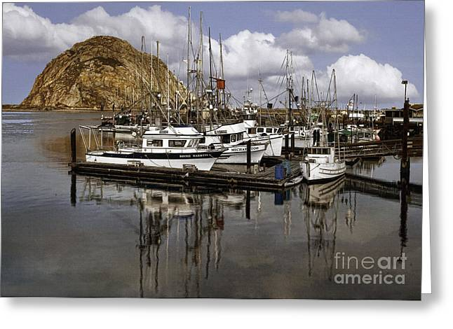 Morro Bay Harbor Greeting Cards - Colorful Morning Harbor Greeting Card by Sharon Foster