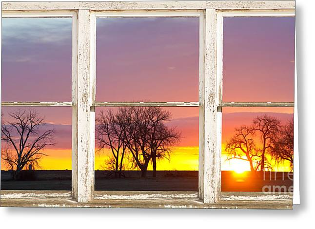 Colorado Greeting Cards - Colorful Morning White Rustic Barn Picture Window Frame View Greeting Card by James BO  Insogna