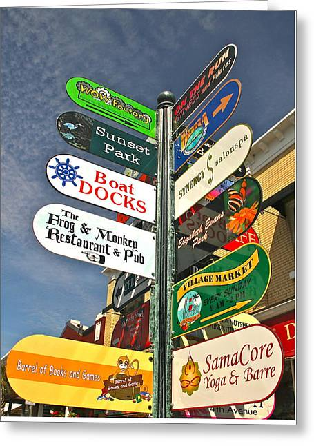 Colorful Mount Dora Signs Greeting Card by Denise Mazzocco