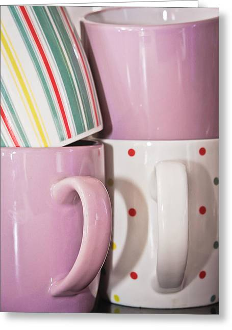 Breakable Greeting Cards - Colorful mugs Greeting Card by Tom Gowanlock