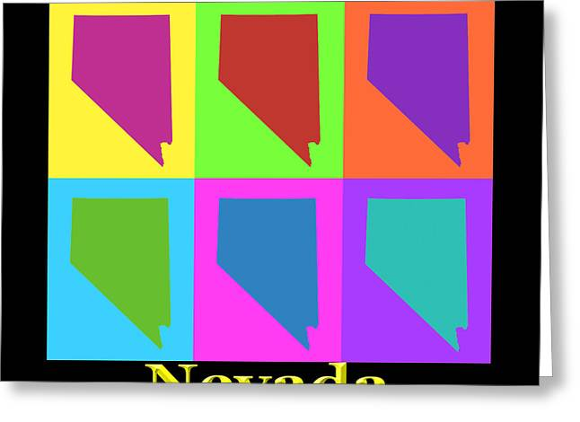 Nevada Greeting Cards - Colorful Nevada State Pop Art Map Greeting Card by Keith Webber Jr