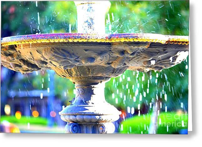 Carol Groenen Digital Art Greeting Cards - Colorful New Orleans Fountain Greeting Card by Carol Groenen
