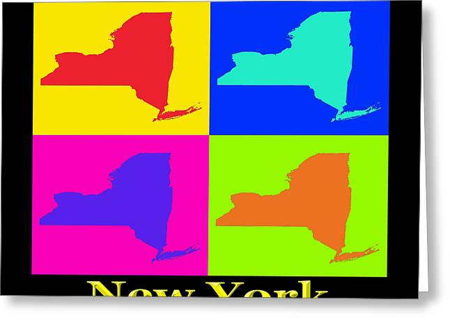 Modern Digital Art Digital Art Greeting Cards - Colorful New York State Pop Art Map Greeting Card by Keith Webber Jr