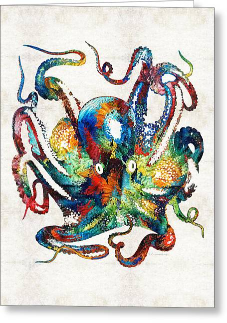 Beach House Paintings Greeting Cards - Colorful Octopus Art by Sharon Cummings Greeting Card by Sharon Cummings