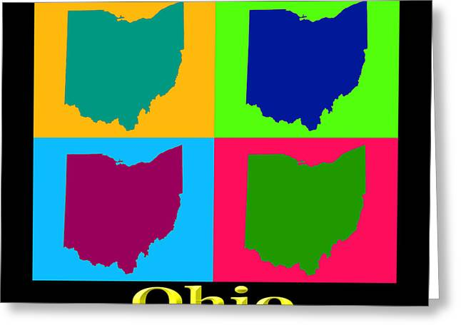 Ohio State Greeting Cards - Colorful Ohio State Pop Art Map Greeting Card by Keith Webber Jr