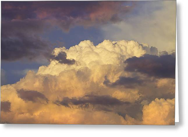 Spectacular Greeting Cards - Colorful Orange Magenta Storm Clouds At Sunset Fine Art Print Greeting Card by Keith Webber Jr