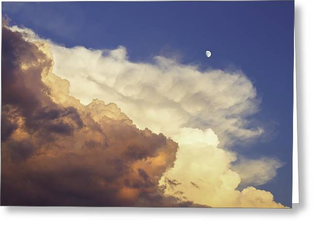 Heavenly Sunrise Greeting Cards - Colorful Orange Magenta Storm Clouds Moon At Sunset Greeting Card by Keith Webber Jr