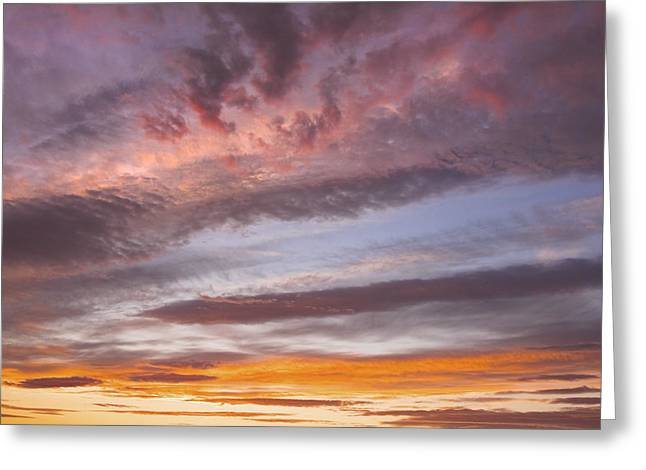 Spectacular Greeting Cards - Colorful Orange Yellow Clouds At Sunset Fine Art Print Greeting Card by Keith Webber Jr
