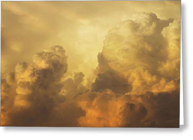 Spectacular Greeting Cards - Colorful Orange Yellow Storm Clouds At Sunset  Greeting Card by Keith Webber Jr