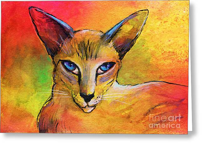 Whimsical Mixed Media Greeting Cards - Colorful Oriental shorthair Cat painting Greeting Card by Svetlana Novikova